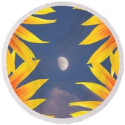 Sunflower Moon Round Beach Towel
