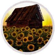 Sunflower Morning With Barn Round Beach Towel