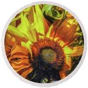 sunflower No. 1 Round Beach Towel