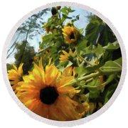 sunflower No.8 Round Beach Towel