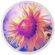 Sunflower Oil Painting Round Beach Towel