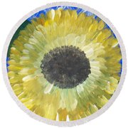 Sunflower On Blue  Round Beach Towel