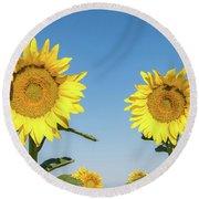 Sunflower Pair Round Beach Towel
