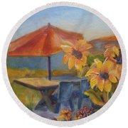 Sunflower Picnic Round Beach Towel