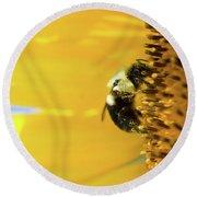 Sunflower Pollen Round Beach Towel