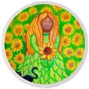 Sunflower Princess Round Beach Towel