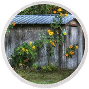 Sunflower Shed Round Beach Towel