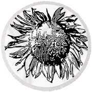 Sunflower Silhouette Round Beach Towel