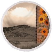 Sunflower Silo In Boulder County Colorado Sepia Color Print Round Beach Towel
