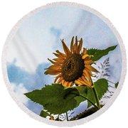 Sunflower Sky Round Beach Towel