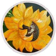 Sunflower Solo Round Beach Towel