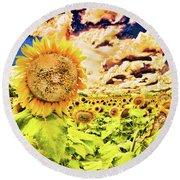 Sunflower Storm Round Beach Towel