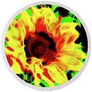 Sunflower Sunburst Round Beach Towel