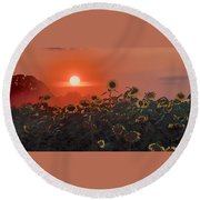 Sunflower Sundown Round Beach Towel