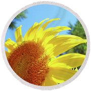 Sunflower Sunlit Art Print Canvas Sun Flowers Baslee Troutman Round Beach Towel