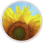 Sunflower Sunlit Sun Flowers Giclee Art Prints Baslee Troutman Round Beach Towel