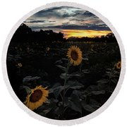 Sunflower Sunset Round Beach Towel