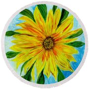 Sunflower Sunshine Of Your Love Round Beach Towel