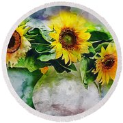 Sunflower Trio Round Beach Towel