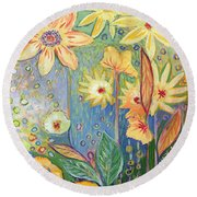 Sunflower Tropics Part 3 Round Beach Towel
