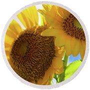 Sunflower Twins Round Beach Towel