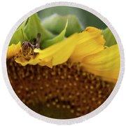 Sunflower With Grasshopper Round Beach Towel