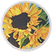 Sunflowers #3 Round Beach Towel