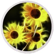 Sunflowers-4955-fractal Round Beach Towel
