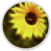 Sunflowers-4986-fractal Round Beach Towel