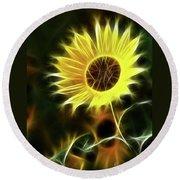 Sunflowers-5200-fractal Round Beach Towel