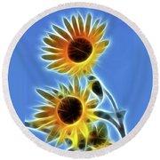 Sunflowers-5246-fractal Round Beach Towel