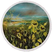 Sunflowers 562315 Round Beach Towel