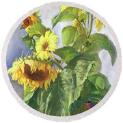 Sunflowers After The Rain Round Beach Towel