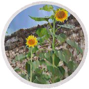 Sunflowers And A Stone Wall Round Beach Towel