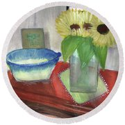 Sunflowers And Blue Bowls Round Beach Towel