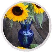 Sunflowers And Blue Vase - Still Life Round Beach Towel