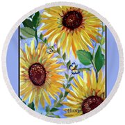 Sunflowers And Butterflies Round Beach Towel