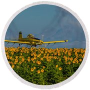 Sunflowers And Crop Duster Round Beach Towel
