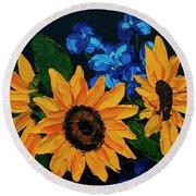 Sunflowers And Delphinium Round Beach Towel