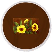 Sunflowers And Dewdrops Round Beach Towel