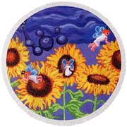 Sunflowers And Faeries Round Beach Towel