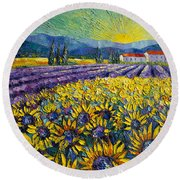 Sunflowers And Lavender Field - The Colors Of Provence Modern Impressionist Palette Knife Painting Round Beach Towel
