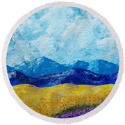 Sunflowers And Lavender In Provence Round Beach Towel