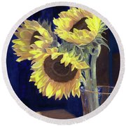 Sunflowers And Light Round Beach Towel