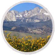 2a6742-sunflowers And Mount Humphreys  Round Beach Towel