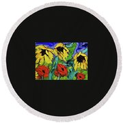 Sunflowers And Poppies - Little Treasures Series Round Beach Towel