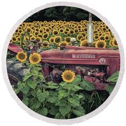 Sunflowers And Tractor Round Beach Towel