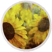 Sunflowers And Water Spots 2773 Idp_2 Round Beach Towel
