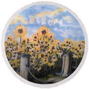 Sunflowers At Rest Stop Near Great Sand Dunes Round Beach Towel