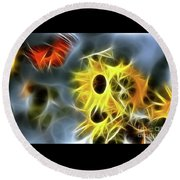 Sunflowers-butterfly-5233-fractal Round Beach Towel